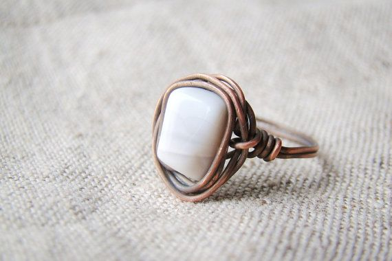Simple beige ring  agate ring copper jewelry by JD4dreamer on Etsy, $18.00