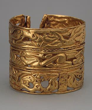 The State Hermitage Museum: Digital Collection -- Powered by IBM Bracelet Gold; cast and chased. 8.4x7 cm Sakae Culture. 4th century BC Siberian collection of Peter I, Russia, Siberia Source of Entry: Kunstkammer, St Petersburg. 1860