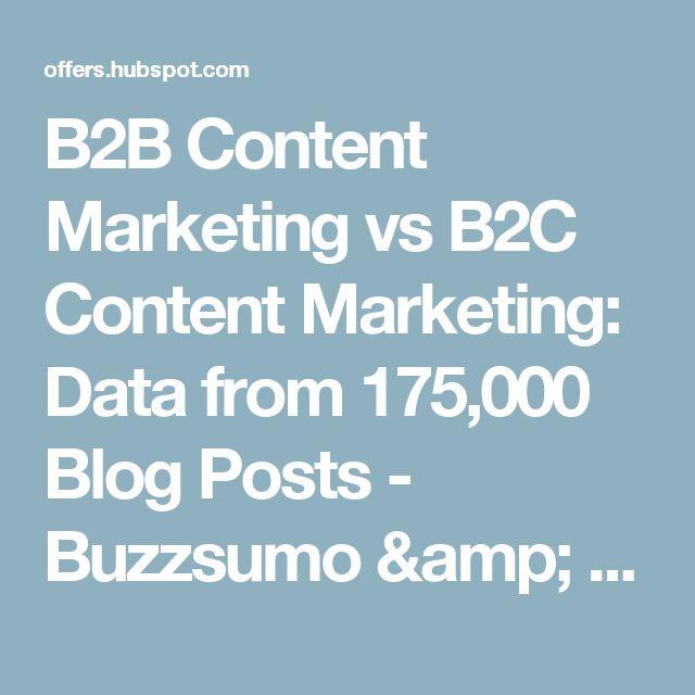 B2B Content Marketing vs B2C Content Marketing: Data from 175,000 Blog Posts - Buzzsumo & HubSpot