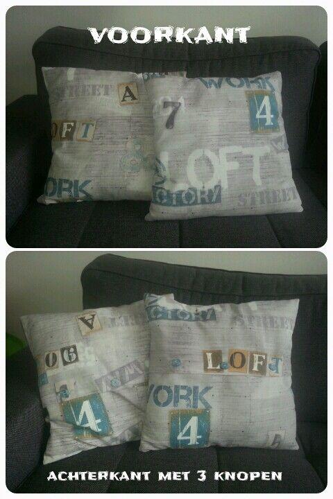 2 kussens gemaakt voor op de bank