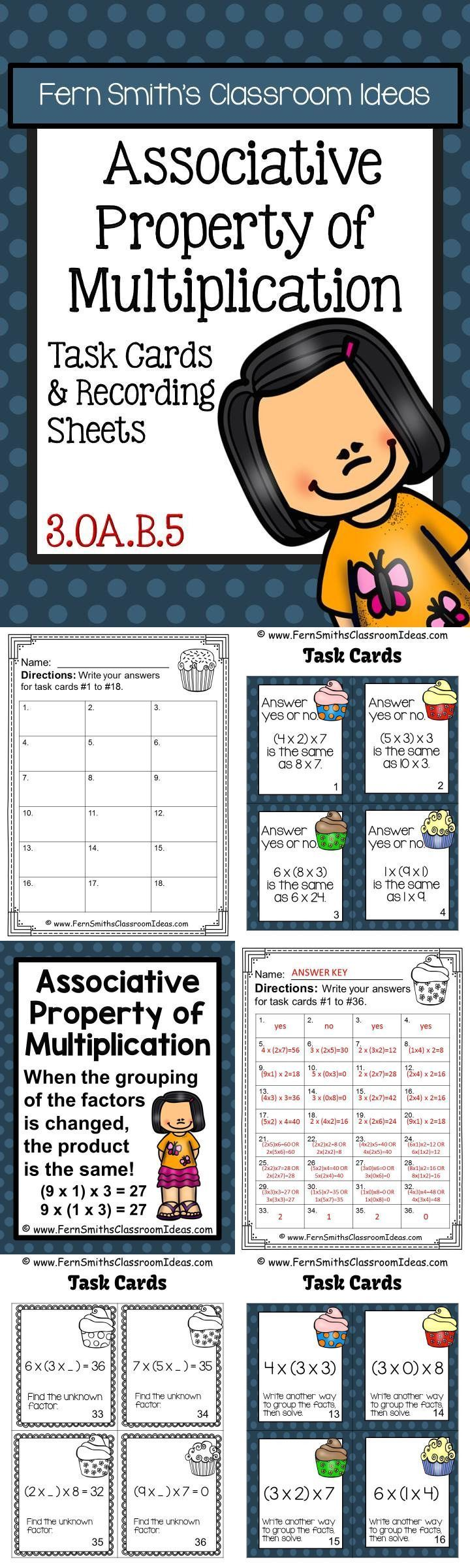 worksheet Associative Property Of Multiplication Worksheets 1000 ideas about associative property on pinterest distributive free preview has four task cards of multiplication cards