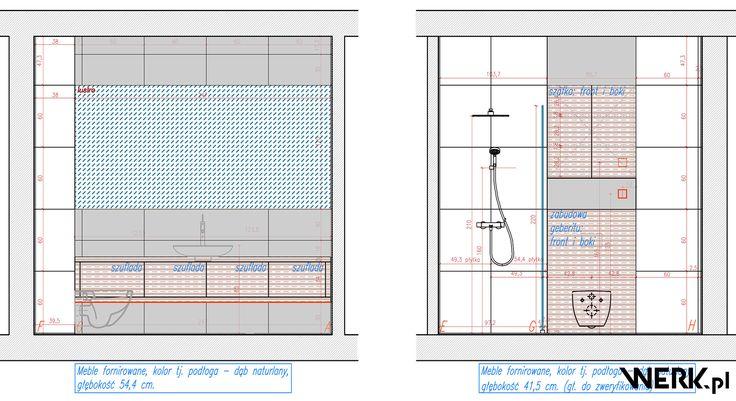 Mieszkanie Żoliborz - Autorski projekt wnętrz łazienki przy sypialni rysunek techniczny