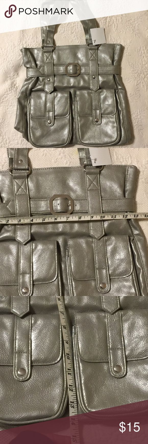 "Silver Tote Bag Silver Tote Bag- Heavy Duty Tote that you can throw anything in! New, Never used.  Measures Width 13"" and Height 14"". NWT Bags Totes"