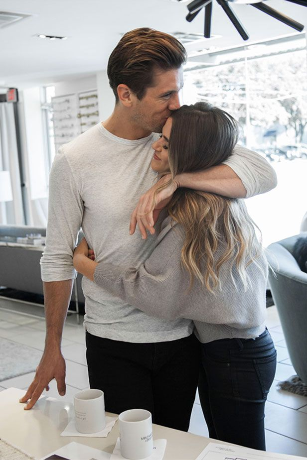 "Mitchell Gold + Bob Williams | JoJo and Jordan's First Home:  Happiness is furniture shopping with your love. JoJo Fletcher of The Bachelorette and fiance Jordan Rodgers. JoJo said she thinks this was the moment Jordan told her he loves ""the furry chair,"" too. That's our Enzo in Tibetan wool --see it on this Board!"