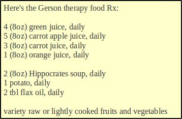 What to eat every day on the Gerson Therapy