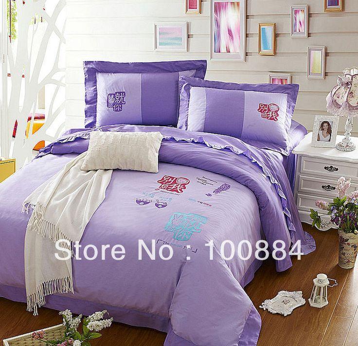 Фиолетовый постельное белье для королевы кровати, 4 шт. наборы постельных принадлежностей без наполнителя, Вышитые хлопок фиолетовый цвет покрывала, королева размер постельное белье