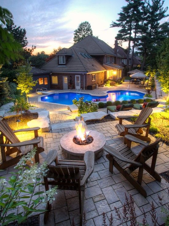 adirondack chair firepit | ... Slate Patio Fire Pit An Adirondack Chairs With Gas Fireplace Image