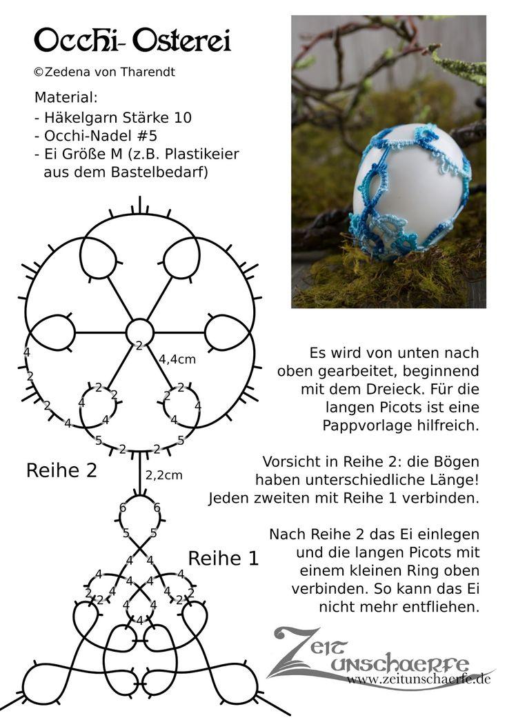 Zum vierten Geburtstag von Zeitunschaerfe gibt es zwei freie Anleitungen für das Einweben von Ostereiern mit Occhi-Spitze