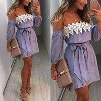 Wish | Women Summer Beach Dress Casual Sleeveless Evening Party Short Mini Dress