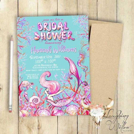 Mermaid Bridal Shower Invitation / Bridal Party / Bridal