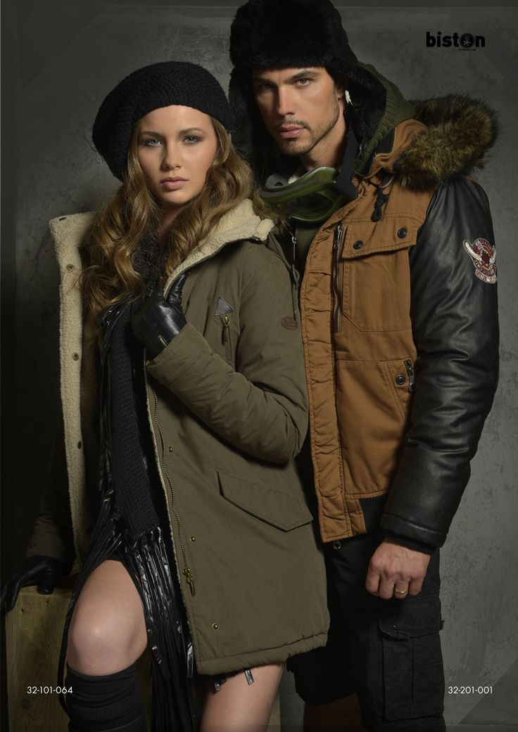 Ladies'  jacket with detachable hood & fake fur around hood. Men's short jacket with immitation leather quality on sleeves, detachable hood & fake fur around hood.  www.biston.gr