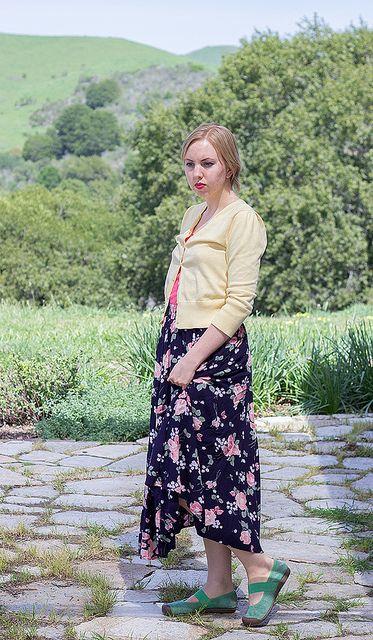 lemon yellow cropped cardigan, floral vintage midi skirt