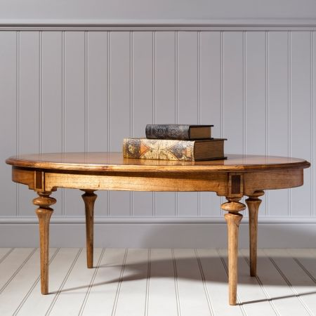 Frank Hudson Spire dining oval coffee table with a rustic French finish £588.00 Shop > http://www.beau-decor.co.uk/coffee-tables/frank-hudson-spire-dining-oval-coffee-table