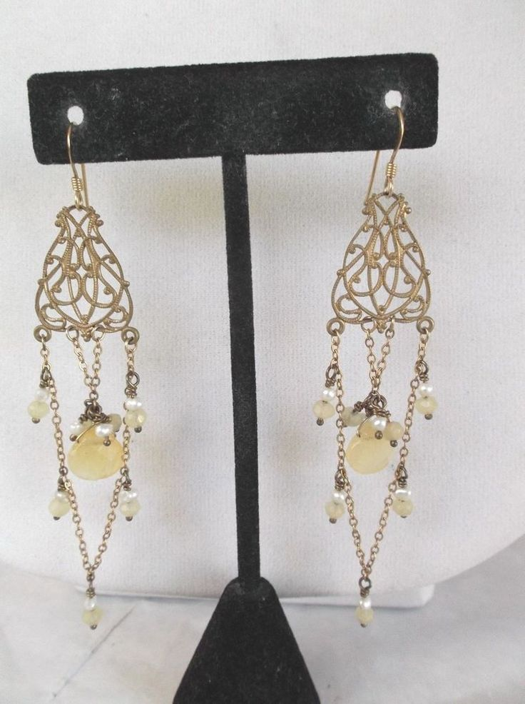 Gold filled seed pearl and yellow quartz beaded chandelier pierced earrings #Chandelier
