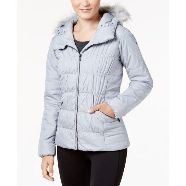 Columbia Sparks Lake Faux-Fur-Trim Thermal Coil Puffer Jacket ($150) ❤ liked on Polyvore featuring outerwear, jackets, columbia grey, columbia, gray jacket, faux fur trim puffer jacket, grey jacket and thermal jacket