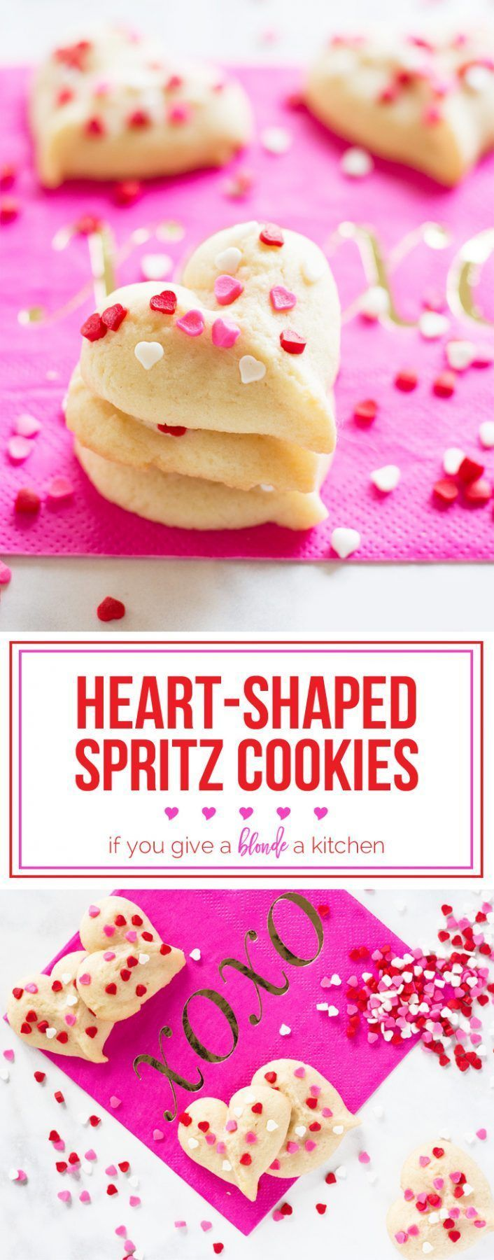 Heart-shaped butter spritz cookies are a yummy Vatenine's Day treat! | http://www.ifyougiveablondeakitchen.com
