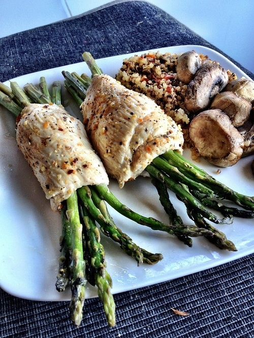 Chicken-wrapped Asparagus with Dirty Quinoa  Approx macros: ~40g protein, 18g carbs, 7g fat  Meal Prep Tip: when I cut up my chicken breasts at the beginning of the week, I slice them vertically in about 2.5oz slices. I then wrap it around asparagus and bake them. Nearly SAME amount of time but this way allows me to vary my diet a bit more - these are great quick snacks OR I can add a yogurt dish in order to meet my protein (caloric) requirements for each meal.