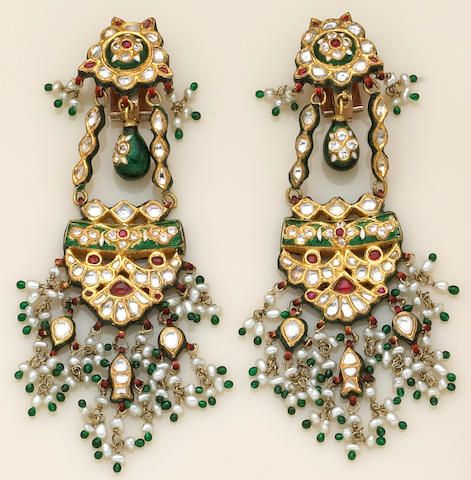 A pair of Indian, white sapphire, freshwater cultured pearl, enamel and high karat gold earrings