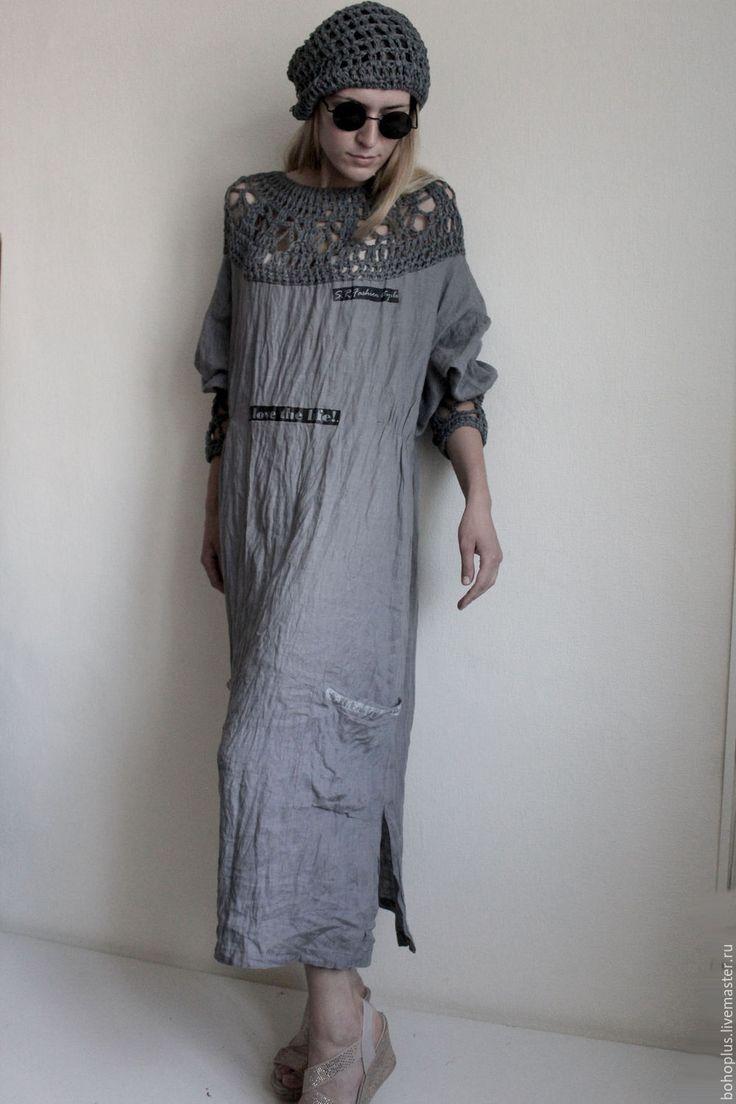 """Купить Платье из тонкого льна """"Серафима"""" - серый, однотонный, светло-серый, серое платье"""