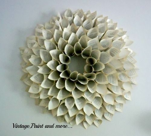 Step-by-step guide to crafting a beautiful book-page wreath.