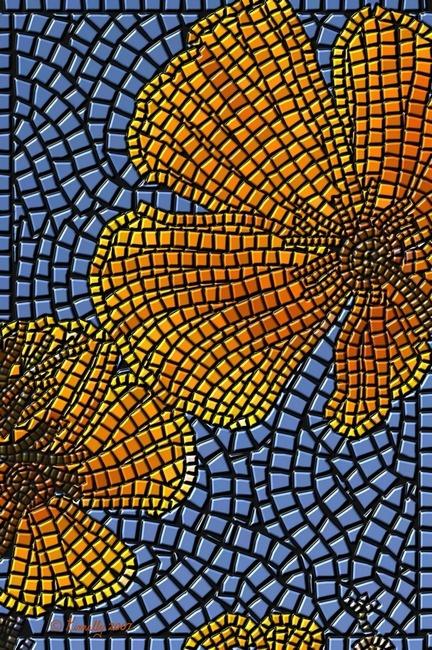 nice lines~ flowerCalifornia Poppies, Mosaics Art, Art Prints, Fine Art, View Mosaics, Mosaics Flower, Edward Kinnal, Frames Wall, Black Grout