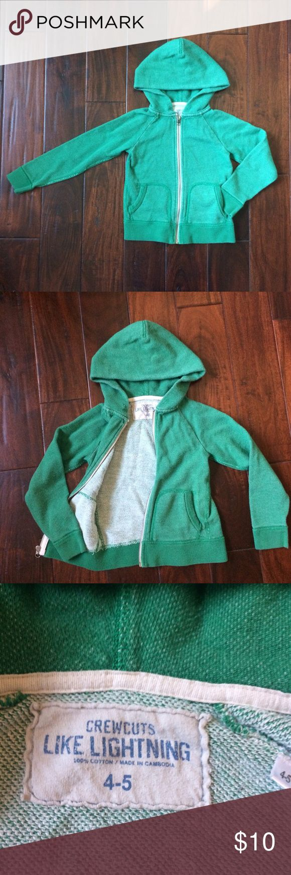 👦🏻•J. Crew crewcuts green zip up hoodie•4-5yrs Awesome sweatshirt. Has an intentionally worn/faded look. Please note pictures 3 and 4 for close up look of sweatshirt fabric. Good condition. J. Crew Shirts & Tops Sweatshirts & Hoodies