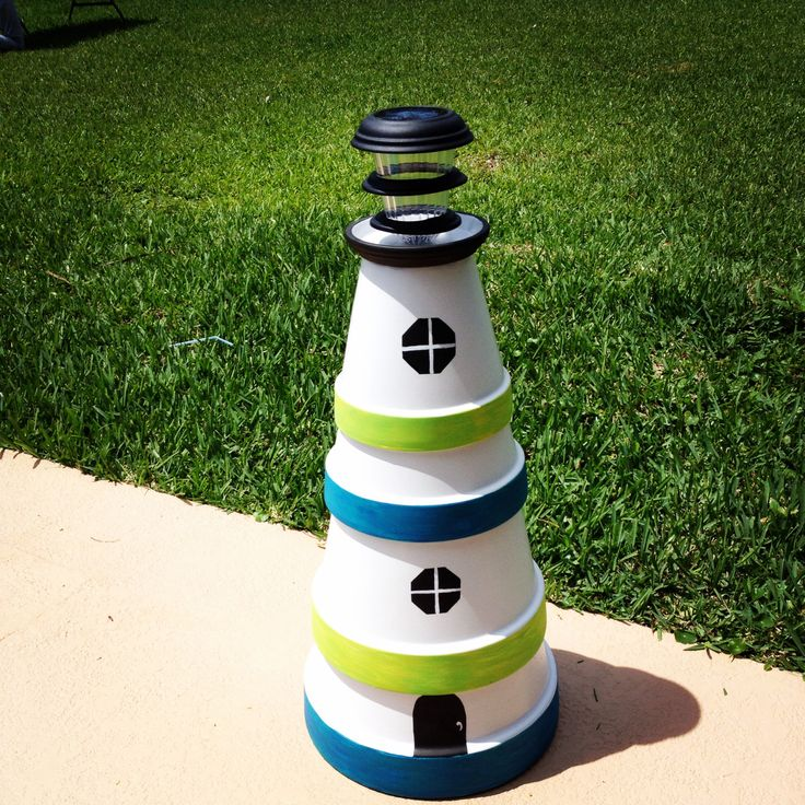 DIY Clay pot Lighthouse with Solar Light