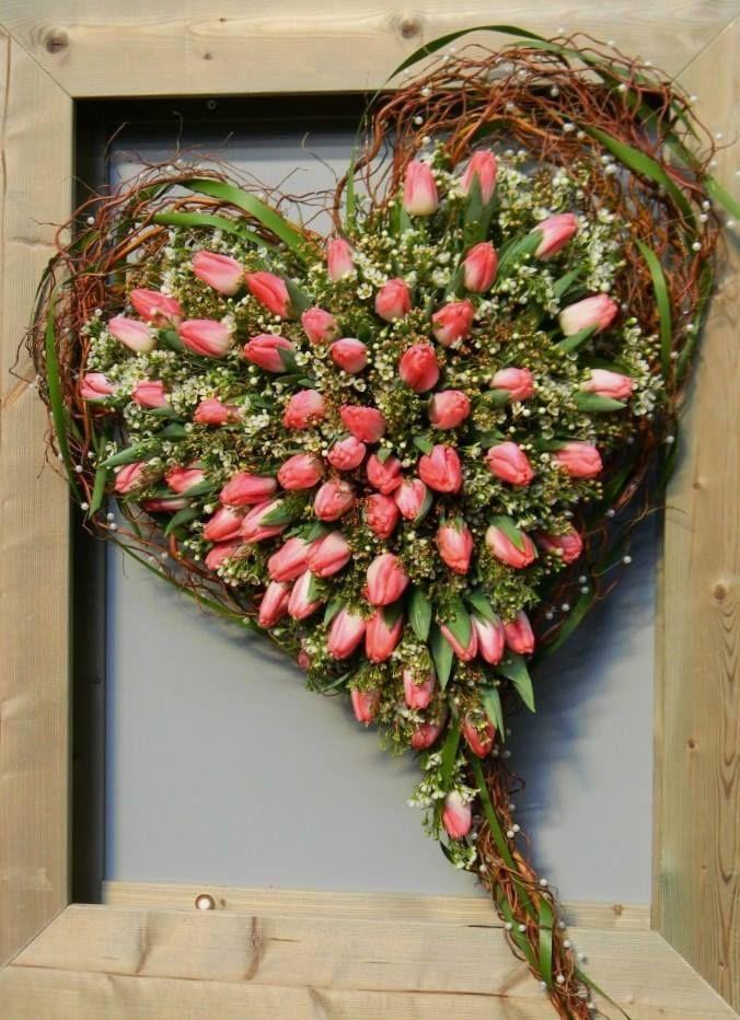 Hart met tulpen