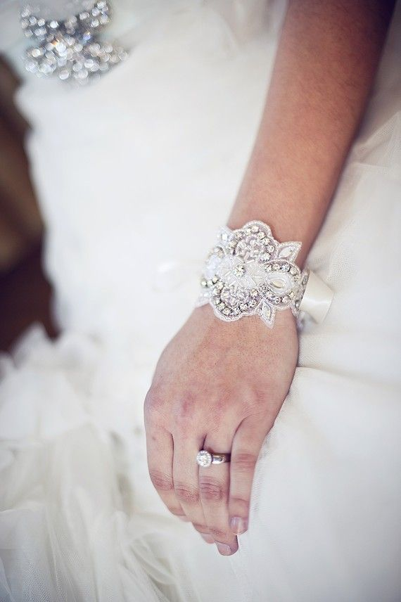 Crystal Beaded Bridal Cuff Bracelet  Elaine our Bridal by BCGirls, $27.50