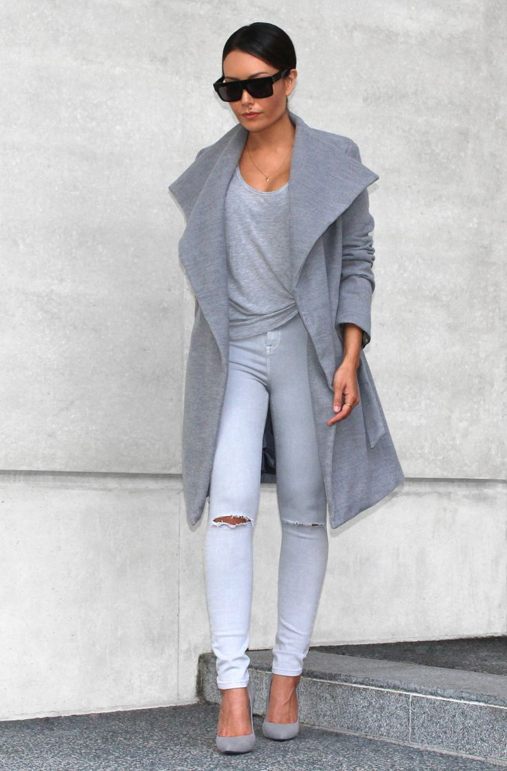 Perfect Transition Into Spring Style: Grey Trench Coat with White Distressed Skinny Jeans and Heels