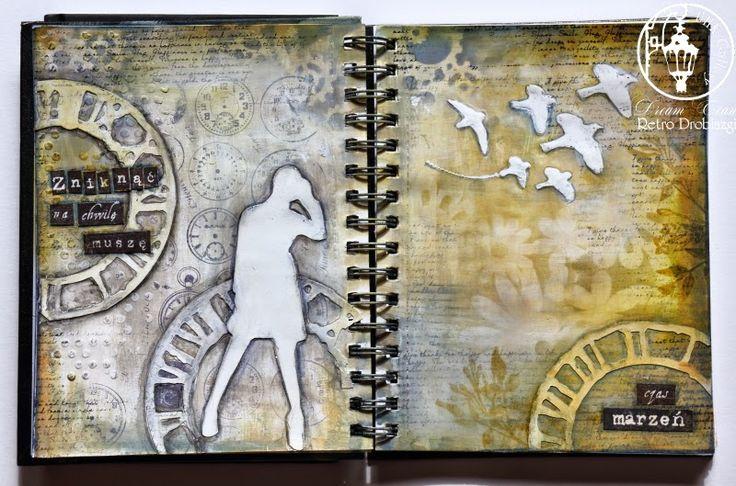 art journal time birds woman