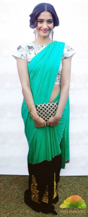 #Green Embroidered #Saree by #Masaba at Indianroots.com #Bollywood #Celebrity #Sonamkapoor