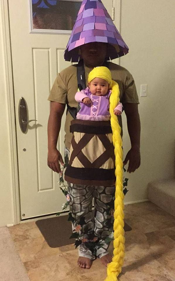 DIY HALLOWEEN by truebluemeandyou : Photo Baby rapunzel and parent as the tower with baby carrier