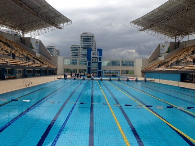 The Maria Lenk Aquatic Centre, located within the Rio Olympic Park Precinct, will play host to the Diving and Water Polo events for the Rio 2016 Olympic Games. Description from