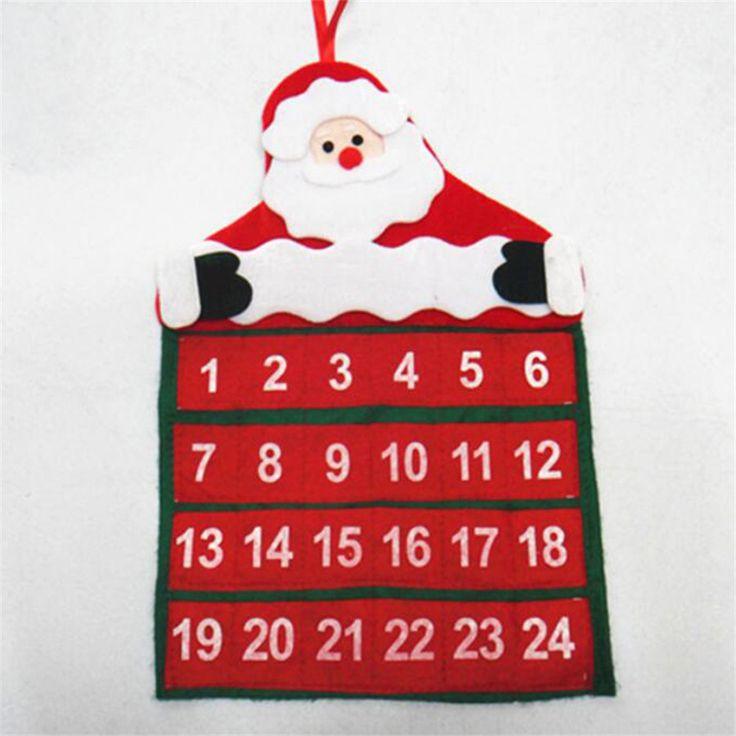 Merry Christmas Xmas Tree Decorations Santa Claus Calendar Advent Ornament Hanging Banner Christmas Decorations For Home