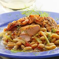 Fennel-Crusted Salmon on White BeansFennelcrust Salmon, White Beans, Fennel Crusts Salmon, Beans Recipe, Healthy Fish Recipe, Healthy Recipe, Salmon Recipe, Mr. Beans, Seared Salmon