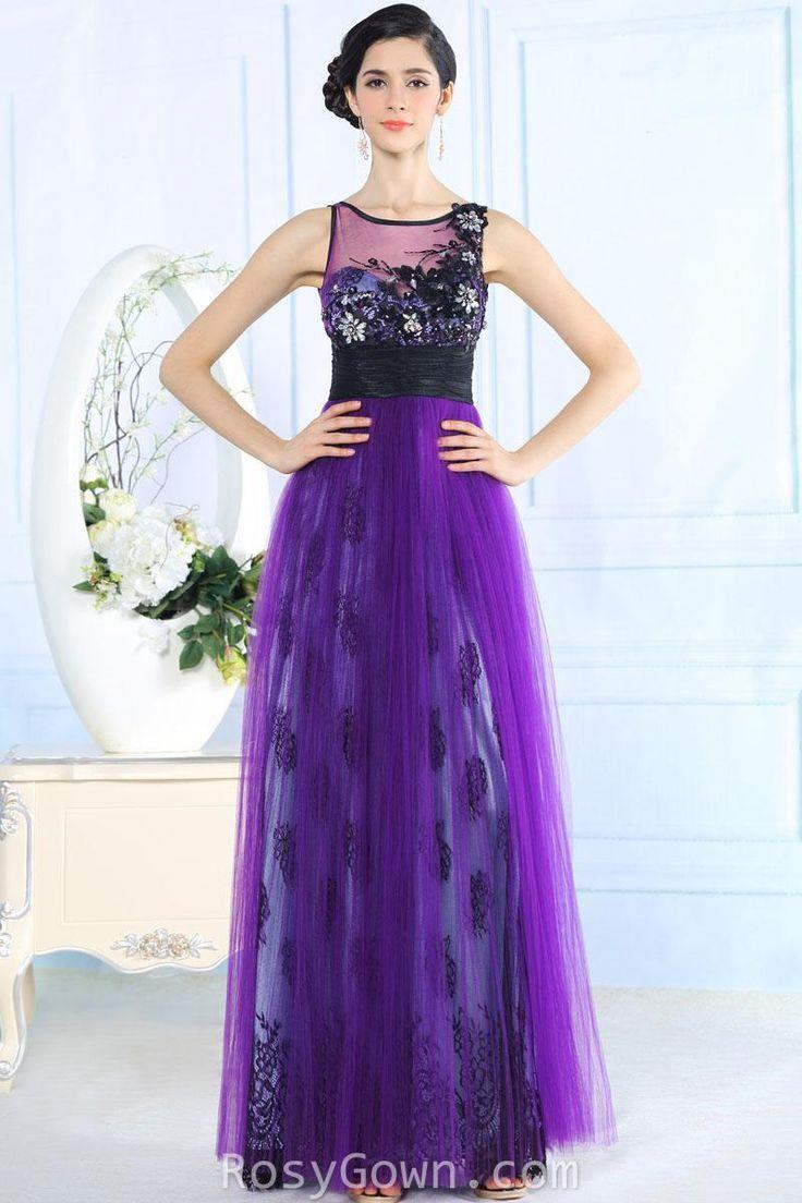 retro #purple #sleeveless illusion bateau neck corset long formal #dress