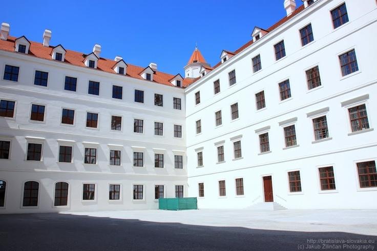 Courtyard inside Bratislava Castle. More on http://bratislava-slovakia.eu/places/sightseeing/bratislava-castle