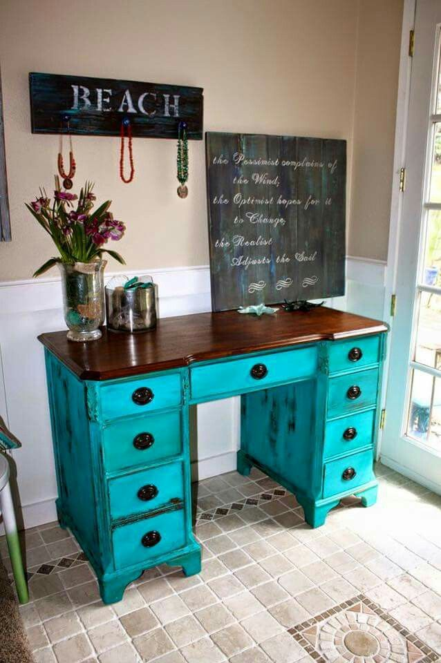 28 best chairs and desks images on pinterest school desks hutch color see her note below i get so many compliments on this turquoise color milk paint its from the real milk paint company and their name is publicscrutiny Choice Image