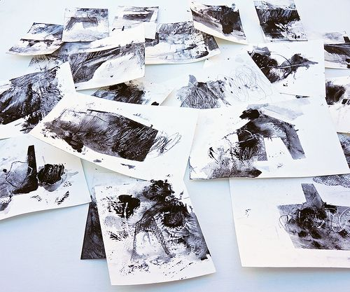 Some automatic drawings in jet black