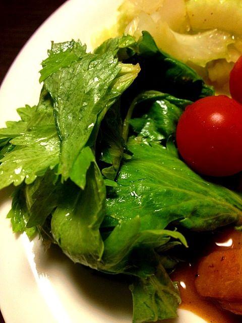 うまし - 5件のもぐもぐ - セロリの葉っぱの蜂蜜レモン和風ドレッシング和え by IGGY