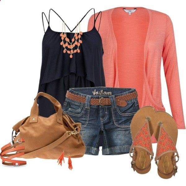 "Navy & coral!! Love Love!!! Super casual but a ""put together"" look."