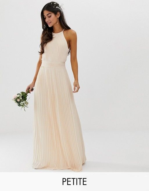 614bdcd5916 TFNC Petite bridesmaid exclusive high neck pleated maxi dress in pearl pink
