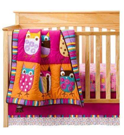 Zutano Blue Owl Brights Crib Bedding Set Baby Girl