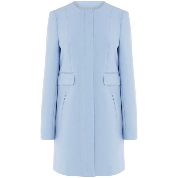 OASIS Sixties Collarless Coat (£85) ❤ liked on Polyvore featuring outerwear, coats, jackets, blue, oasis coat, pastel coat, collarless coat and blue coat