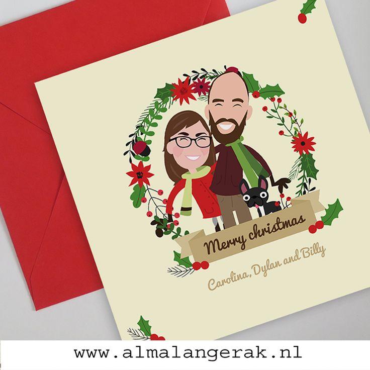 Family Portrait Custom Christmas Cards Maatwerk kerstkaarten met cartoon portret van gezin en hond, uiteraard kan ik ook kinderen en huisdieren natekenen