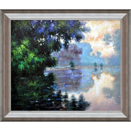 morning on the seine near giverny by monet framed canvas. Black Bedroom Furniture Sets. Home Design Ideas