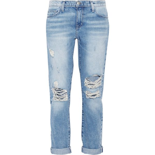 Current/Elliott The Fling distressed mid-rise boyfriend jeans found on Polyvore
