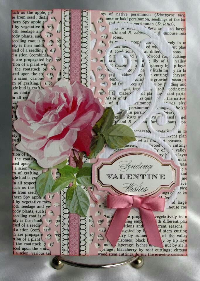 All about love--use her rose sticker with flourish and pink border punch