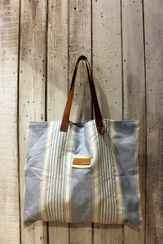 MARINA BAg Handmade grooved cotton & Leather Shopping bag\tote di LaSellerieLimited su Etsy